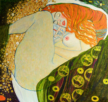 Oil On Canvas. Oil Painting. Gold Leaf. Beautiful Red Hair Girl. Based On Painting Danae. G. Klimt
