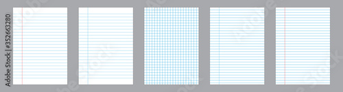 Cuadros en Lienzo Set of realistic vector illustration of blank sheets of paper isolated on background