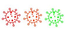 Coronavirus Icon Set For Infographic .Isolated Corona Virus Flat Multicolors