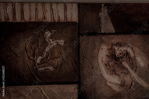 La imagen muestra un cuadro abstracto formado a partir de madera Canvas Print