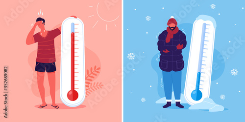 Obraz Meteorology thermometers. Heat and cold weather vector illustration. Cartoon characters in summer and winter season. - fototapety do salonu