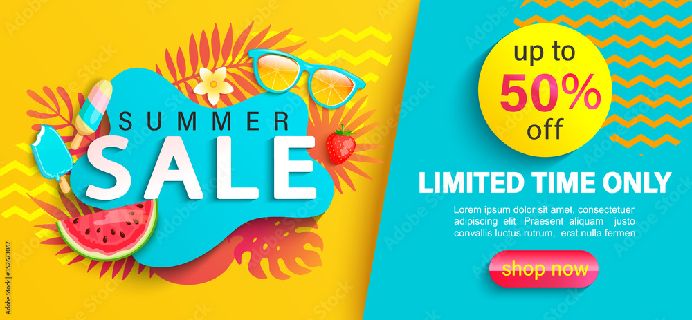 Fototapeta Summer big Sale banner, up to 50 percent limited time discount, promotion,hot season promo with tropical leaves,watermelon,ice cream on geometric background for shopping, special offer card.Vector