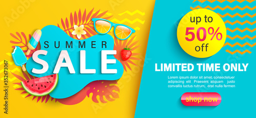 Obraz Summer big Sale banner, up to 50 percent limited time discount, promotion,hot season promo with tropical leaves,watermelon,ice cream on geometric background for shopping, special offer card.Vector - fototapety do salonu