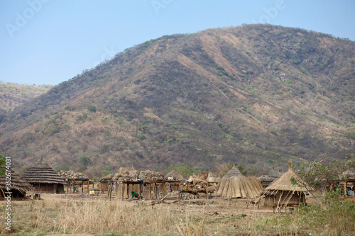 Traditional African village in South Sudan near Torit in the Imatong Mountains.