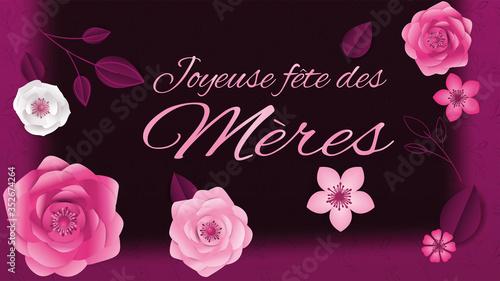 carte ou bandeau sur joyeuse fête des mères en rose avec tout autour des fleur Canvas Print