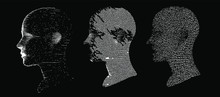 Artificial Intelligence And Machine Learning Concept. Human Head With Glitched Pixels, Distorted Profile Of A Woman Made Of Square Particles.