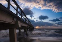 Pompano Beach Pier Broward County Florida By Sunrise