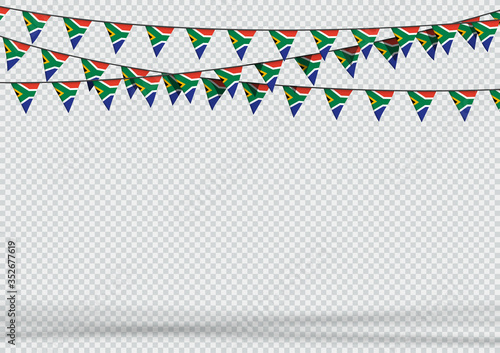 Fototapeta Bunting Hanging Banner South Africa Flag Background