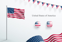 USA Flag 3d Elements Waving Flagpole Bunting Buttons