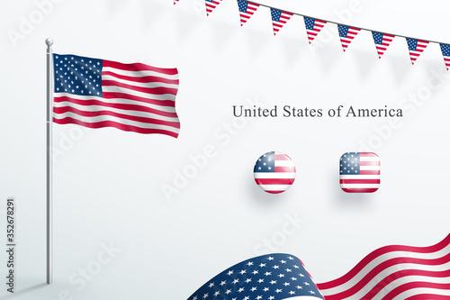 Valokuva USA Flag 3d Elements Waving Flagpole Bunting Buttons