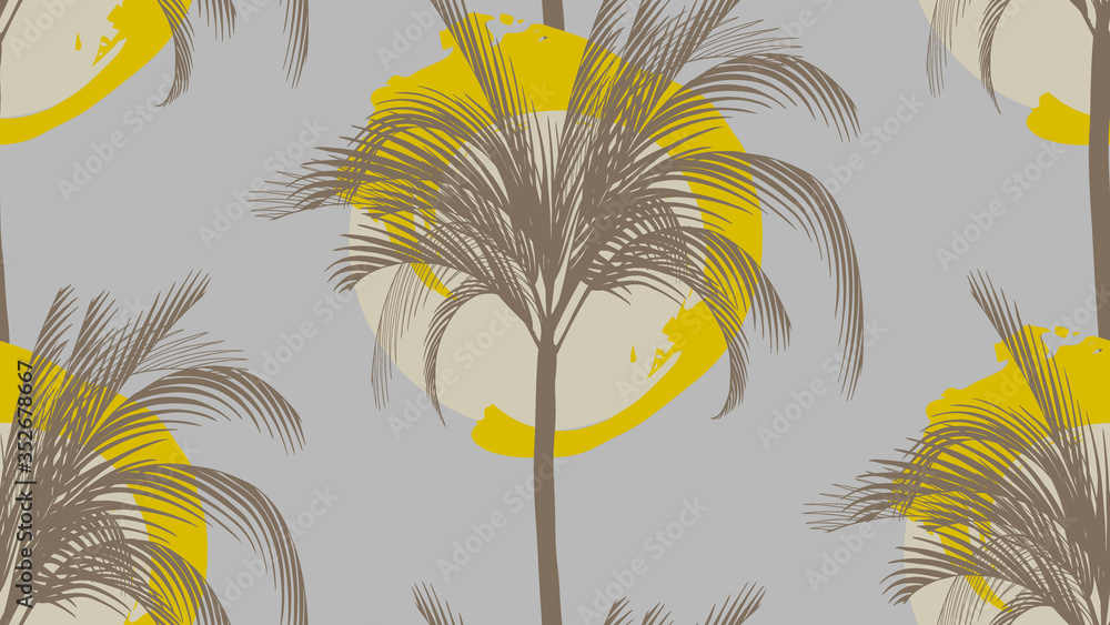 Fototapeta seamless pattern with a palm tree in a circle in monochrome colors on a gray background