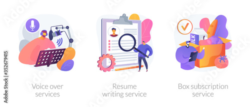 Obraz Online based jobs abstract concept vector illustration set. Voice over services, resume writing, box subscription, audio and video production, CV online, box delivery startup abstract metaphor. - fototapety do salonu