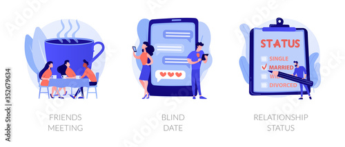 Photo Friendship and communication, flirt and partner search, romantic bonding icons set