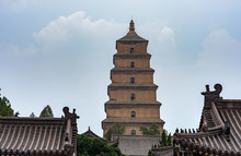 Giant Wild Goose Pagoda, Famous Buddhist Pagoda In Xian, Shaanxi Province, China, Built In 652 During The Tang Dynasty