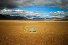 Idyllic Shot Of Sailing Stone On Desert Landscape At Death Valley National Park