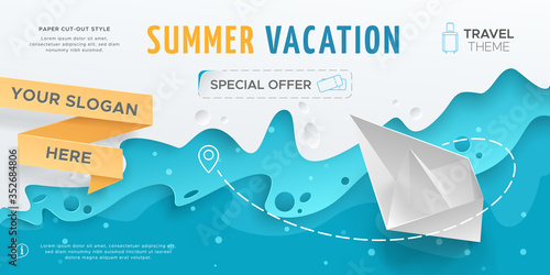 Obraz Horizontal travel banner with scene with paper waves and 3D realistic origami boat. Vector layout in paper cut style with toy ship for design of flyers and leaflets. Carving art with blue background. - fototapety do salonu