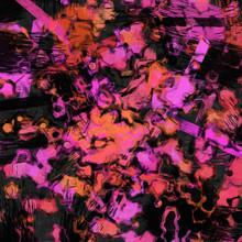 Grunge Fantasy Brushstrokes Art Design In Orange, Rose On Black Background