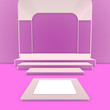 canvas print picture - Podium, stage, pedestal. Trendy background with stand for product presentation. Minimalistic concept. Abstract blank mockup in pink or purple hues. 3D rendering