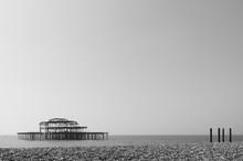 Silhouette Brighton Pier In Se...