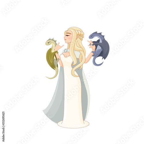 Valokuva Daenerys Targaryen TV series hero with two cute cartoon dragons on her hand and