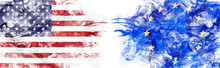 American And European Flag In Smoke On White Background. Concept Of Conflict And Customs Duty. America VS Europe Metaphor. Dollar Euro Exchange Currency And International Commercial Tension And Crisis