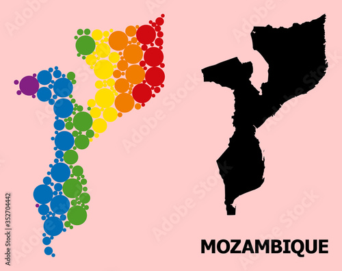 Fotografie, Obraz Spectrum Collage Map of Mozambique for LGBT