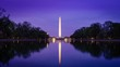 canvas print picture - Reflection Of Illuminated Washington Monument On Lake Against Sky During Dusk