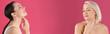 Leinwandbild Motiv Beautiful mature women on pink background, space for text. Banner design
