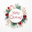 Leinwandbild Motiv Flat lay composition with text MERRY CHRISTMAS and festive decor on white background