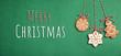 Leinwandbild Motiv Text MERRY CHRISTMAS and cookies on green background, flat lay. Banner design