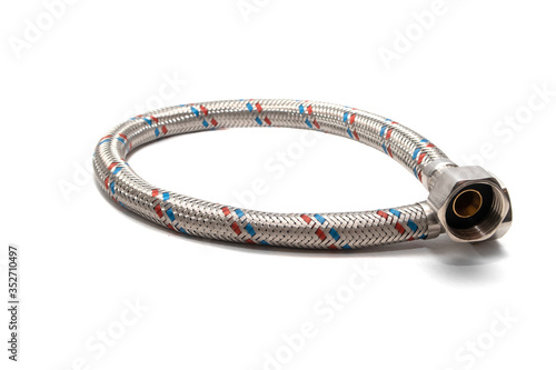 Cable metal hose on white background for supplies Water heater Canvas-taulu