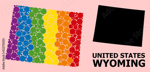 Fototapeta Rainbow Pattern Map of Wyoming State for LGBT