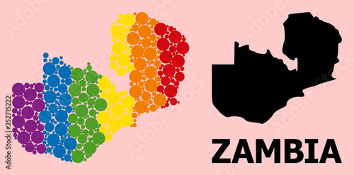 Fotografie, Obraz Spectrum Pattern Map of Zambia for LGBT