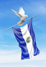 El Salvador Flag On A Pole Is Carried By A Bird While Flying Against A Blue Sky Background - 3D Illustration.