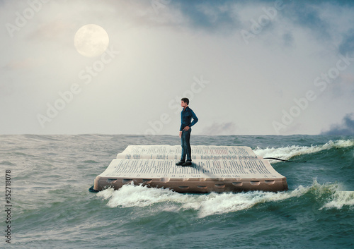 man sailing on the Holy Bible, in rough seas, seeking salvation by faith in Jesu Wallpaper Mural