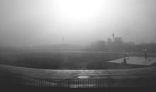 High Angle View Of Playground In Foggy Weather