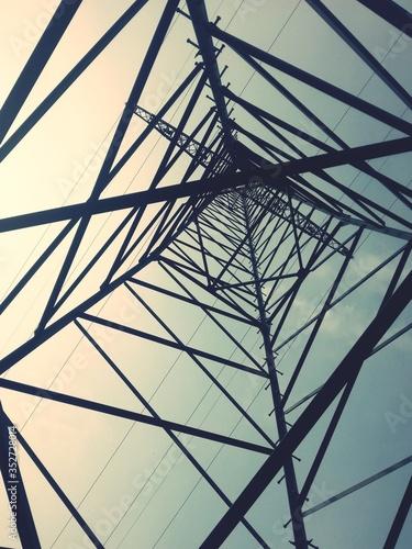 Fotografie, Obraz Directly Below Shot Of Electricity Pylon Against Sky