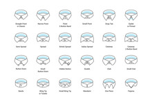 Vector Line Icon Set Of Men's Shirt Collar Styles, Editable Strokes. Illustration For Style Guide Of Formal Male Dress Code For Menswear Store. Different Collar Models: Tuxedo, Spread, Button Down.