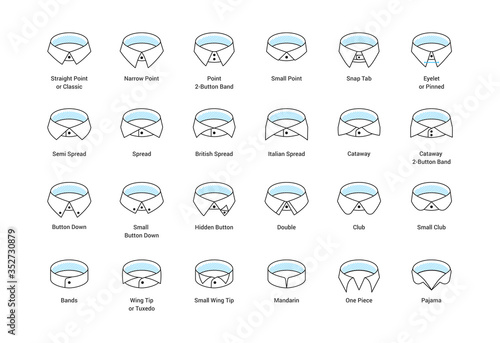 Fotografering Vector line icon set of men's shirt collar styles, editable strokes