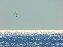 Hot Air Balloons Flying Over Sea