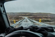 View From A Car In Iceland Cro...