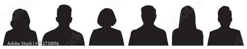 Fototapeta Set of vector avatar profile icon in silhouettes. obraz