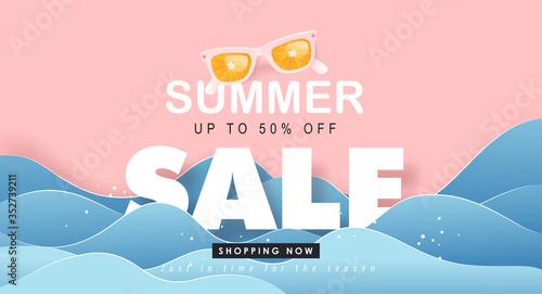 Fototapeta Summer sale design with paper cut tropical beach bright Color background layout banners .Orange sunglasses concept.voucher discount.Vector illustration template. obraz