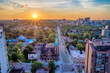 canvas print picture - High Angle View Of City Buildings Against Sky During Sunset