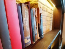 Close-up Of Old Books On Shelf