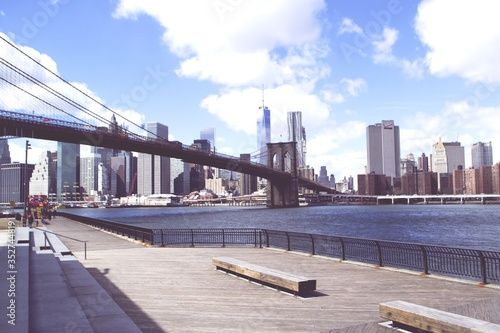 Fotografering Brooklyn Bridge Over East River Against Manhattan