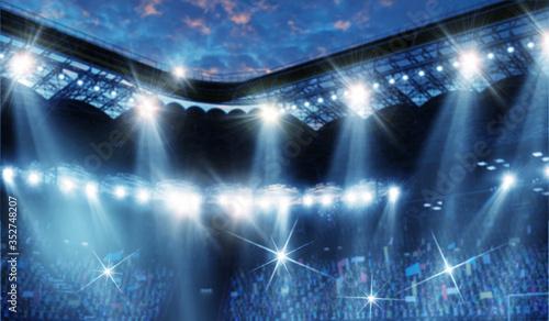 Obraz Stadium with fan crowd . Mixed media - fototapety do salonu