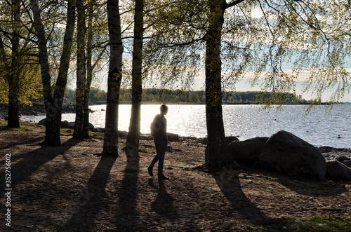 Fotografia Man Walking At Lakeshore Amidst Trees