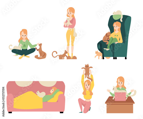 Fototapeta Set of young girls and cats flat vector illustration isolated on background. obraz na płótnie