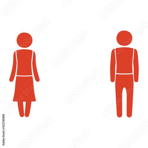 Photo 離れて立っている男性と女性のイラスト。